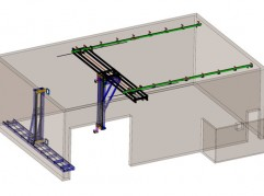 Gantry and scanner system with Source Manipulator (GX-GY-GZ Axes) and Detector Manipulator (DX-DY Axes)